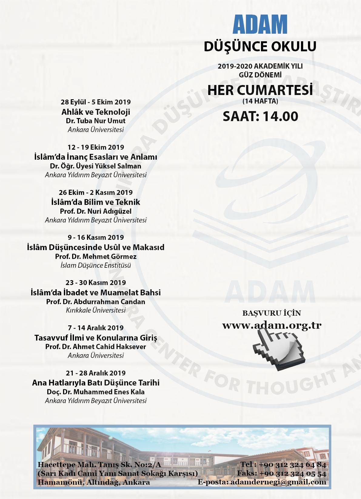 ADAM Düşünce Okulu 2019-2020 Güz Dönemi Programı